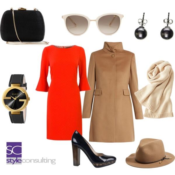 oranje rode jurk