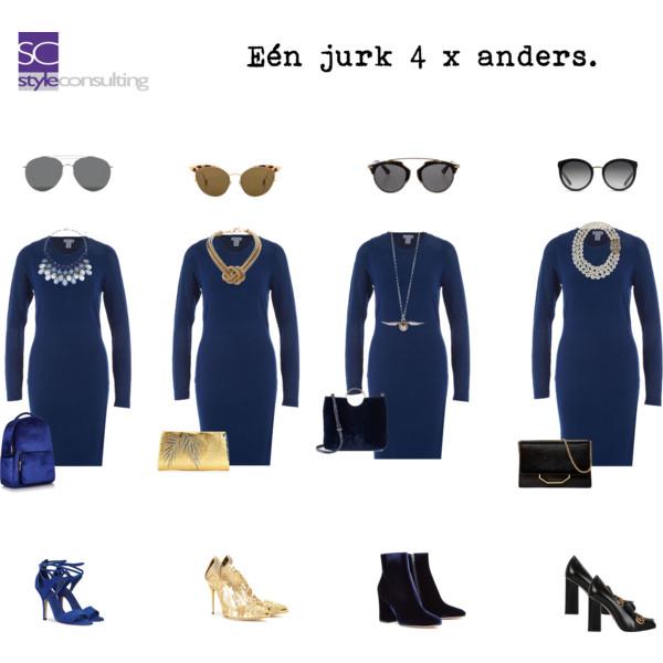 lichtblauwe jurk combineren