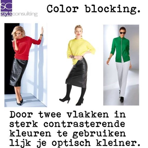 Door color blocking lijk je kleiner.